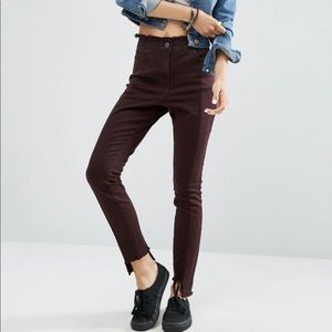 ASOS Berry High rise Deconstructed Skinny Pants